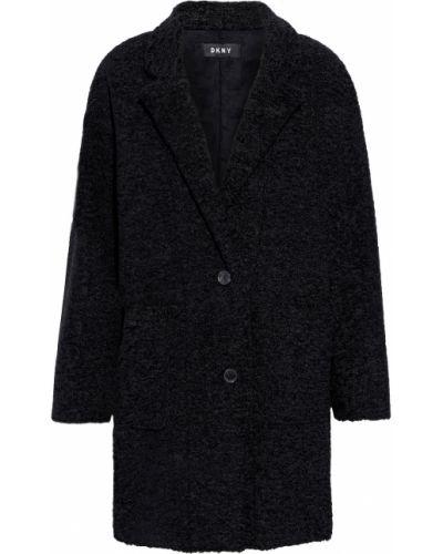 Текстильное черное пальто с накладными карманами Dkny