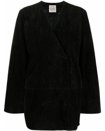 Прямая черная кожаная куртка Toteme