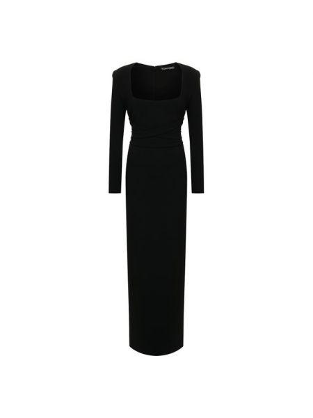 Черное шелковое вечернее платье с декольте с длинными рукавами Tom Ford