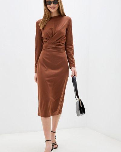 Коричневое прямое платье Trendyangel