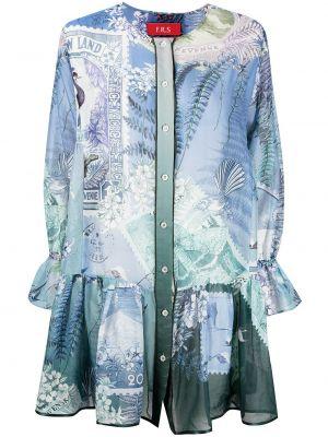 Платье макси с длинными рукавами - синее F.r.s. For Restless Sleepers