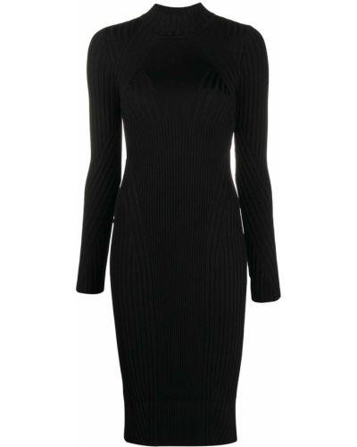 С рукавами трикотажное черное платье миди Versace Jeans Couture