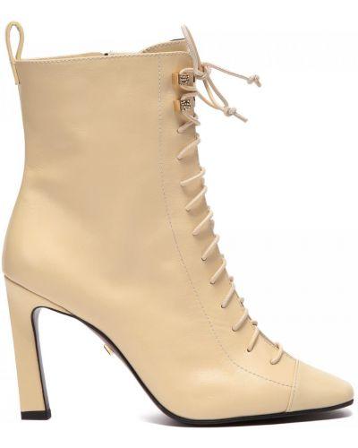 Бежевые кожаные ботинки круглые Grey Mer