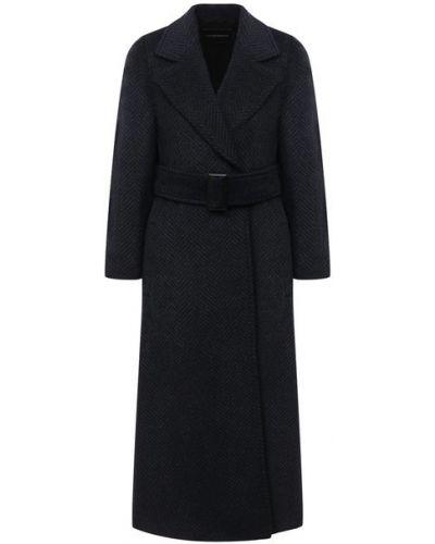 Приталенное синее шерстяное пальто Emporio Armani