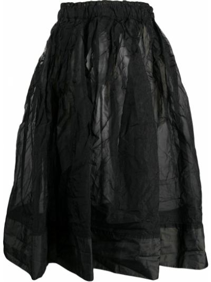 Черная пышная юбка с поясом со вставками Black Comme Des Garçons