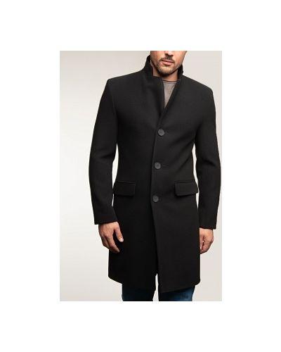 Драповое черное пальто с воротником каляев