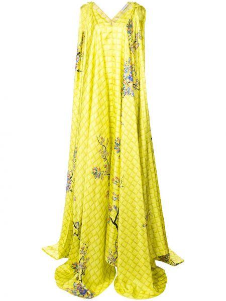 Żółta sukienka długa rozkloszowana z jedwabiu Vionnet