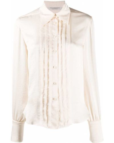Классическая плиссированная классическая рубашка с воротником на пуговицах Philosophy Di Lorenzo Serafini