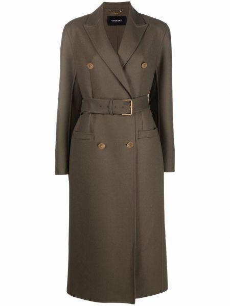 Зеленое длинное пальто Versace