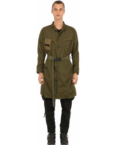 Zielony płaszcz z paskiem z nylonu Nilmance