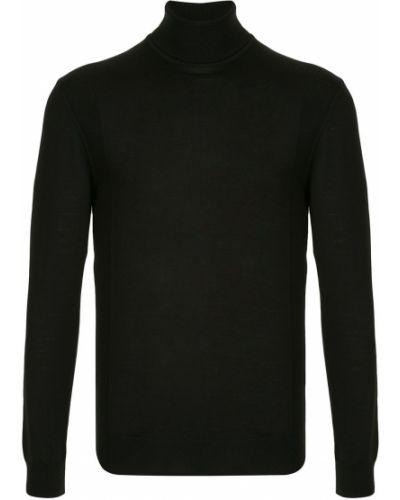 Wełniany klasyczny czarny koszulka polo z długimi rękawami Cerruti 1881