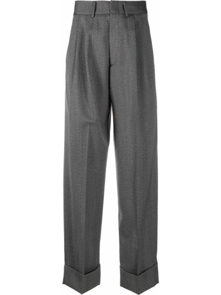 Шерстяные серые брюки свободного кроя Tonello