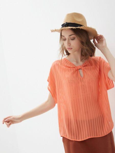 Розовая блузка с коротким рукавом Sisley
