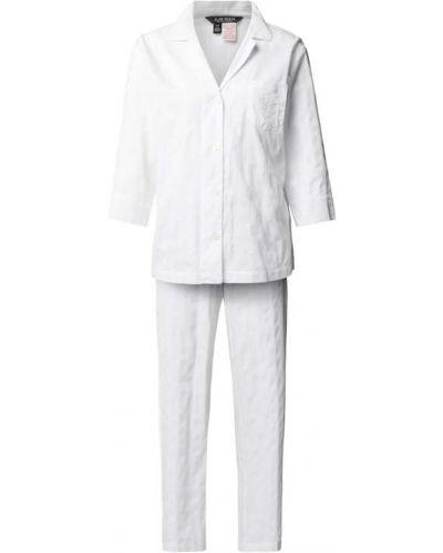 Biała piżama bawełniana w paski Lauren Ralph Lauren