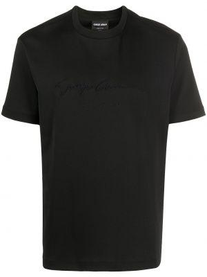 Czarny t-shirt bawełniany z haftem Giorgio Armani