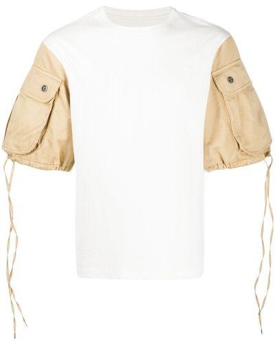 Белая хлопковая футболка с круглым вырезом с карманами Telfar