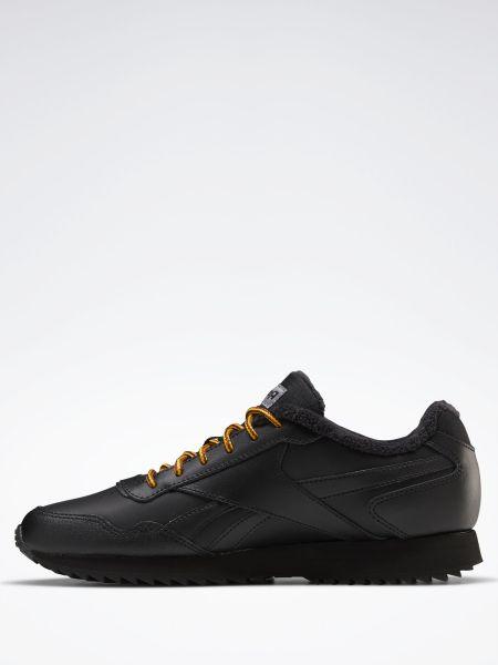 Теплые черные кожаные кроссовки Reebok