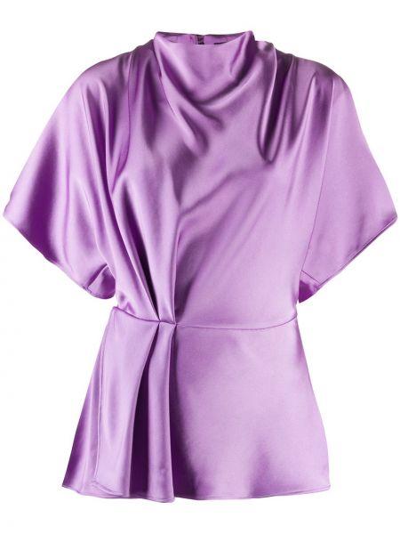Фиолетовая прямая блузка с коротким рукавом с вырезом круглая Stine Goya