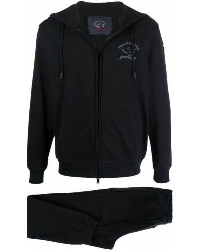 Черный спортивный костюм с капюшоном в рубчик Paul & Shark