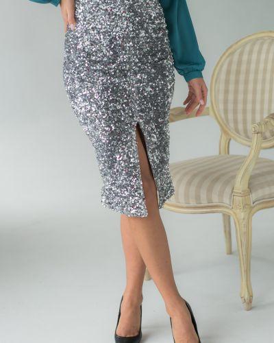 Серебряная велюровая юбка с пайетками G&m