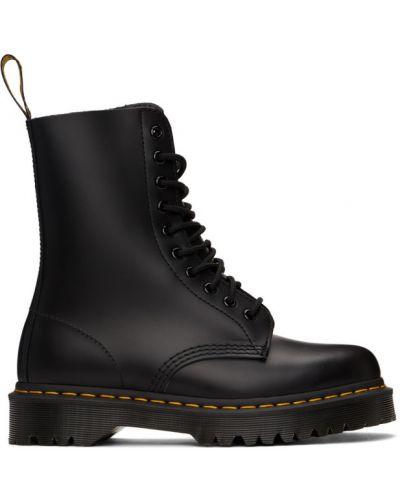 Ażurowy skórzany czarny buty obcasy zasznurować Dr. Martens