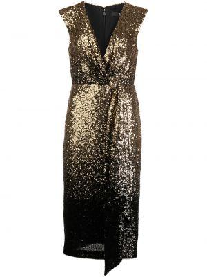 Czarna złota sukienka Badgley Mischka