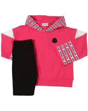 Prążkowane różowe legginsy bawełniane Moncler