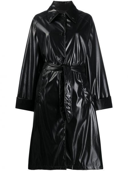 Черный длинное пальто с карманами на пуговицах Mm6 Maison Margiela