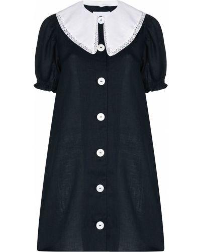Niebieska sukienka mini krótki rękaw Sleeper