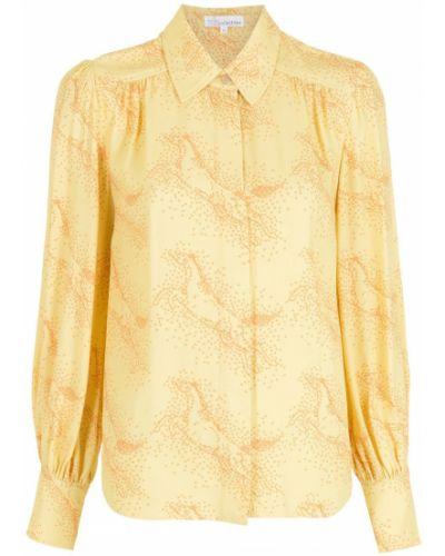 Желтая классическая рубашка с воротником из вискозы НК