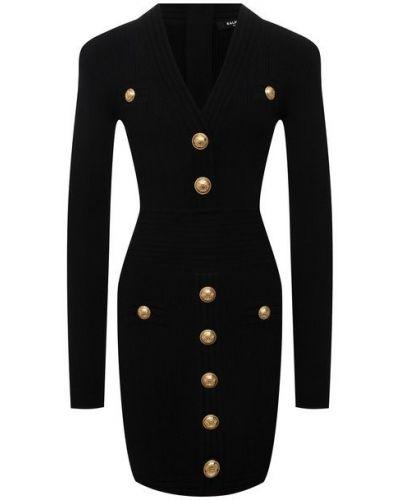 Черное платье из полиэстера Balmain