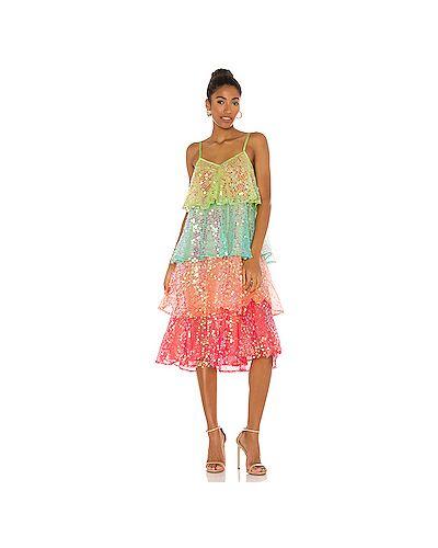 Зеленое платье миди на бретелях из вискозы Sundress