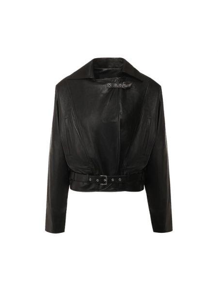 Приталенная черная кожаная куртка с поясом с лацканами Jitrois