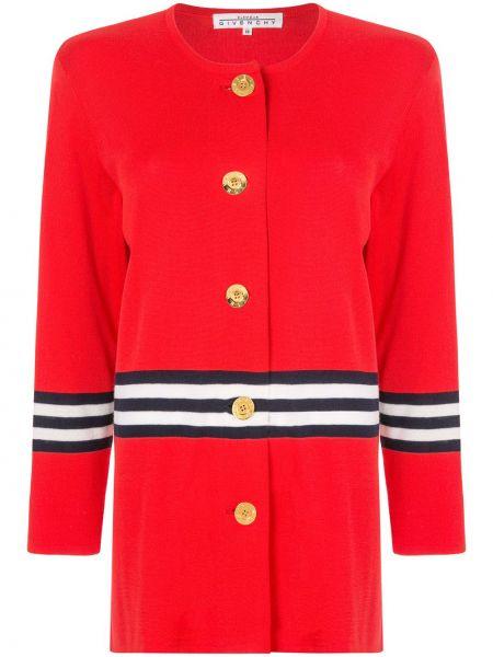 Красный топ на пуговицах винтажный с круглым вырезом Givenchy Pre-owned
