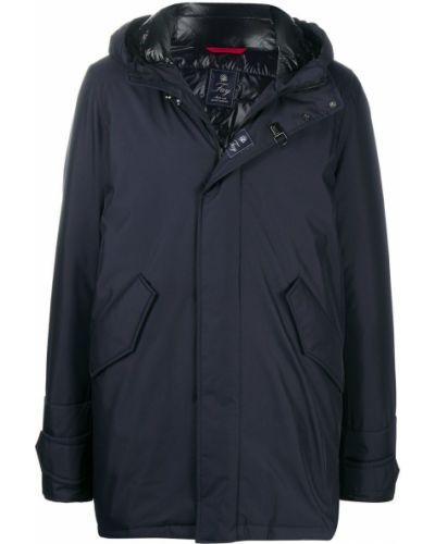 Z rękawami niebieski płaszcz przeciwdeszczowy od płaszcza przeciwdeszczowego z kieszeniami Fay
