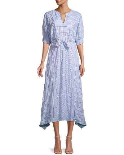 Синее платье миди на молнии в полоску Rebecca Minkoff