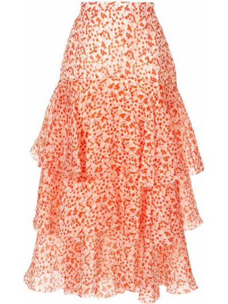 Шелковая юбка - белая Delpozo