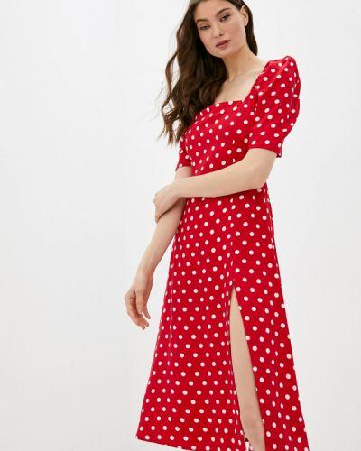 Прямое красное платье А-силуэта Trendyangel