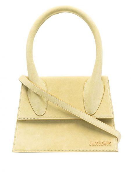 Золотистая кожаная зеленая сумка-тоут Jacquemus