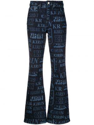 Niebieskie jeansy bawełniane rozkloszowane Kirin