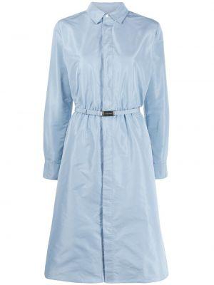 Шелковое с рукавами синее платье макси Ralph Lauren Collection