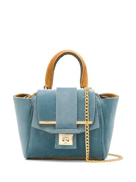 Синяя мягкая сумка на цепочке Alila