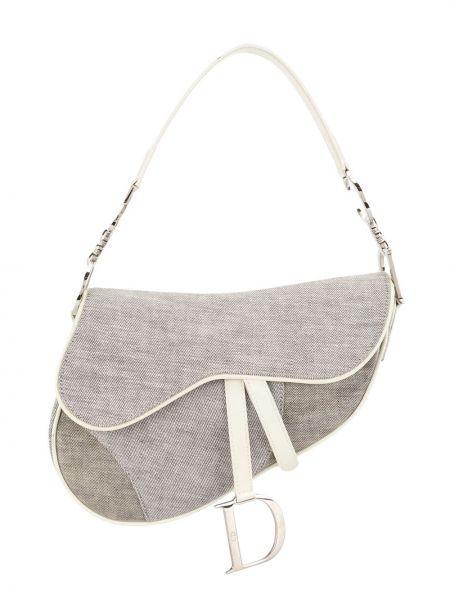 Srebro brezentowy torba kosmetyczna prążkowany za pełne Christian Dior