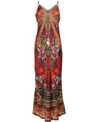 Шелковое платье макси - красное Camilla