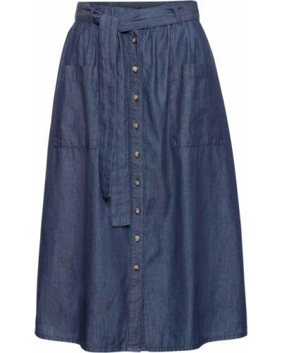 Синяя джинсовая юбка с поясом на пуговицах Bonprix