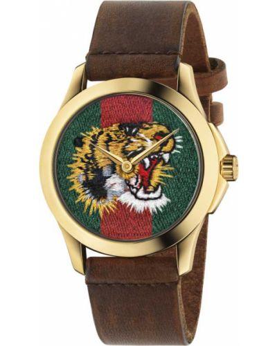 Красные с ремешком кожаные часы на кожаном ремешке Gucci