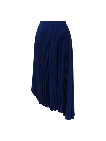Тонкая синяя асимметричная плиссированная юбка Markus Lupfer