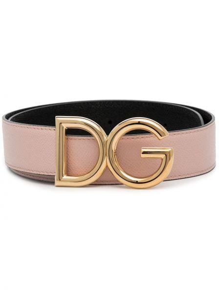 Розовый кожаный ремень с пряжкой Dolce & Gabbana