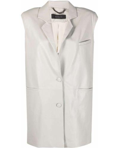 Серый кожаный пиджак без рукавов Federica Tosi