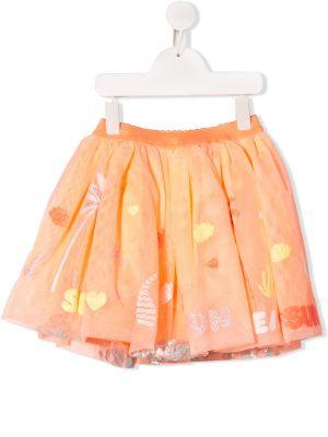 Pomarańczowa spódnica bawełniana z haftem Billieblush